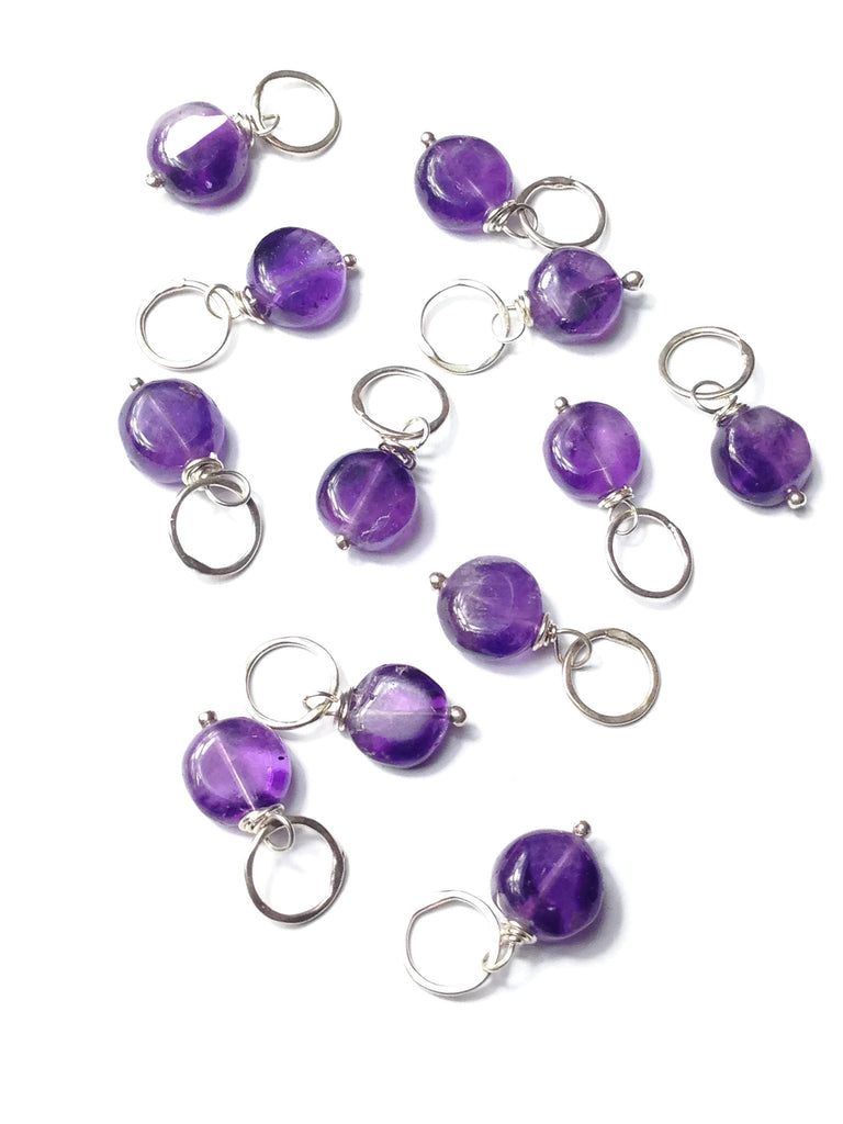 Smooth Irregular Coin Amethyst Gemstone Bead and Sterling Silver Add A Dangle Charm Round Jump Ring