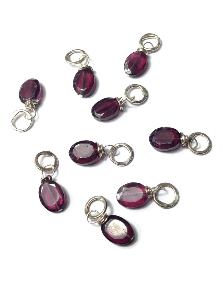 Faceted Oval Garnet Gemstone Bead and Sterling Silver Add A Dangle Charm Round Jump Ring