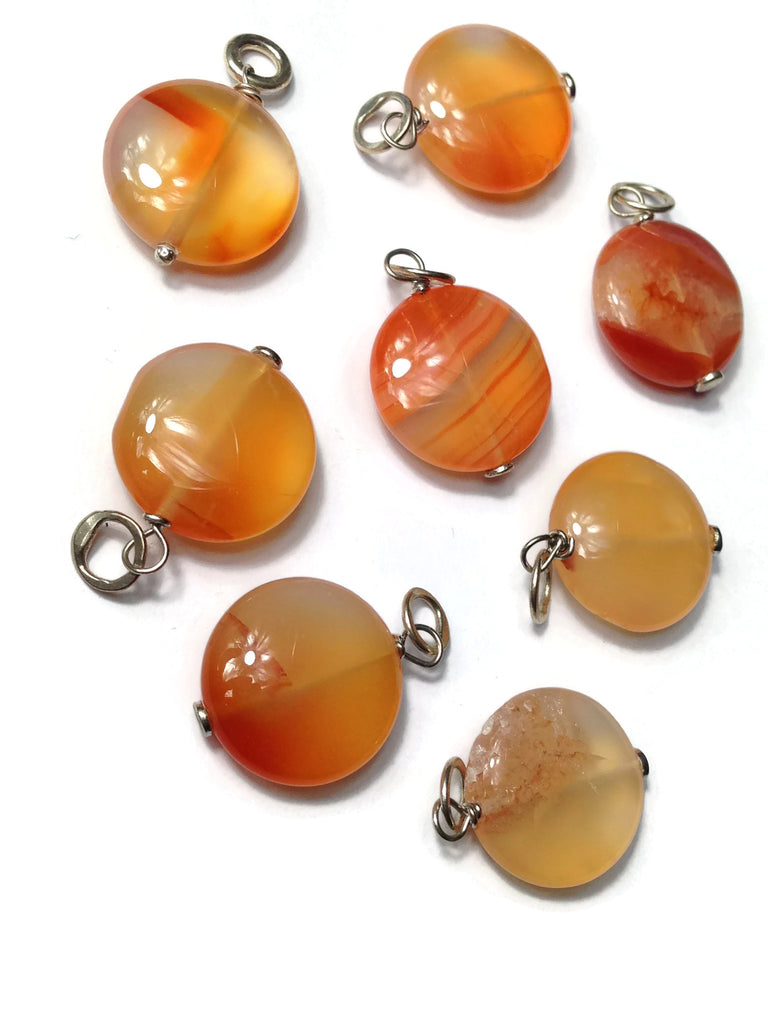 Large Smooth Puffed Carnelian Gemstone Bead Sterling Silver Add A Dangle Charm Round Jump Ring