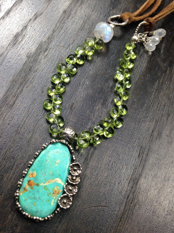 OOAK Cripple Creek Turquoise with Peridot and Moonstone Sterling Silver Suede Necklace