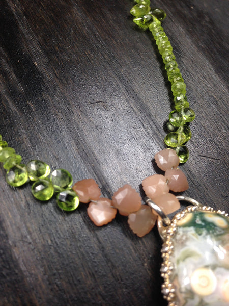 OOAK Ocean Jasper with Peach Moonstone and Peridot Sterling Silver and Suede Necklace