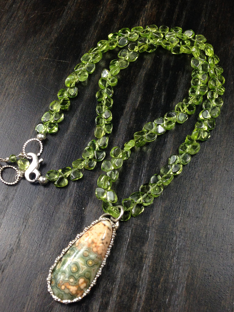 OOAK Ocean Jasper and Peridot Sterling Silver Necklace