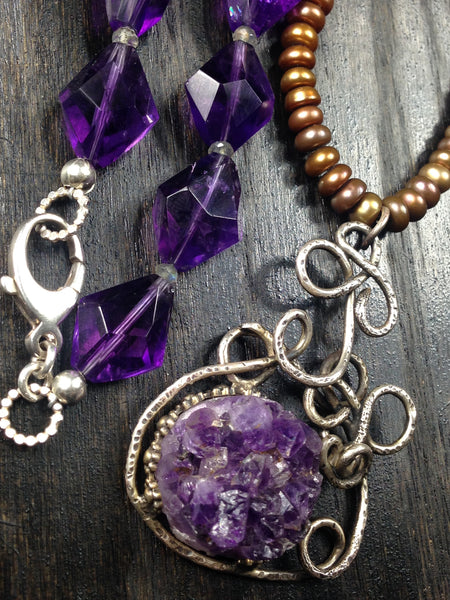 OOAK Purple Amethyst and Labradorite Sterling Silver Necklace