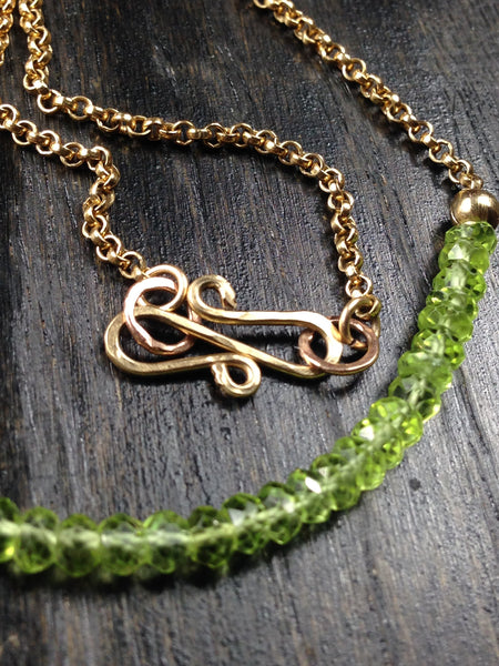 Peridot and 14K Gold Necklace