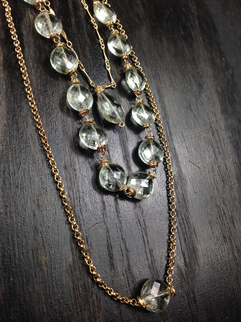 Prasiolite  3 Strand  14K Gold Necklace