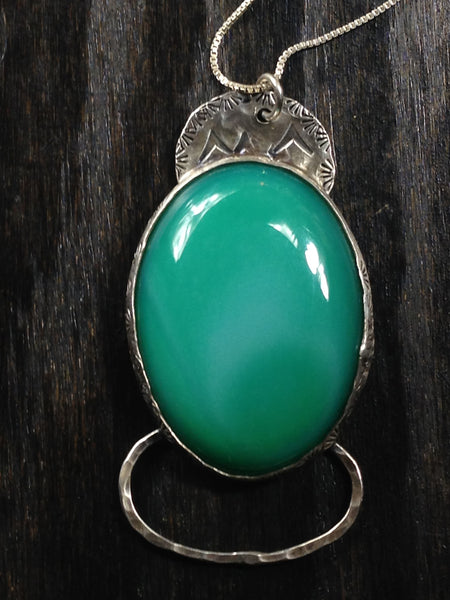 Green Onyx and Sterling Silver Necklace