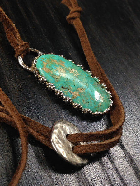 OOAK Cripple Creek Turquoise and Sterling Silver Necklace