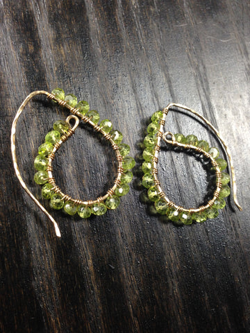 Paisley Peridot and Sterling Silver or 14K GF Earrings