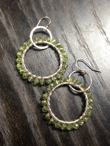 Peridot and Sterling Silver Double Hoop Earrings