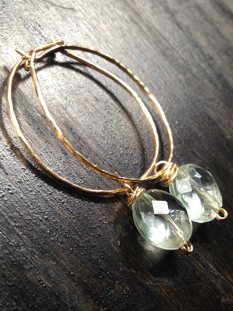 Prasiolite and Gold Hoop Earrings