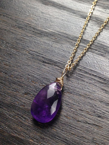 Amethyst and Gold Chain Necklace