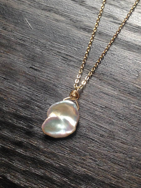 Elegant Keshi Pearl and Gold Necklace