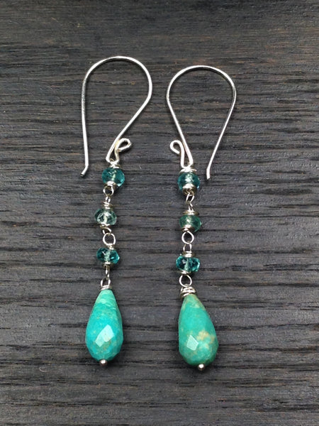 Turquoise and Apatite Sterling Silver Dangle Earrings