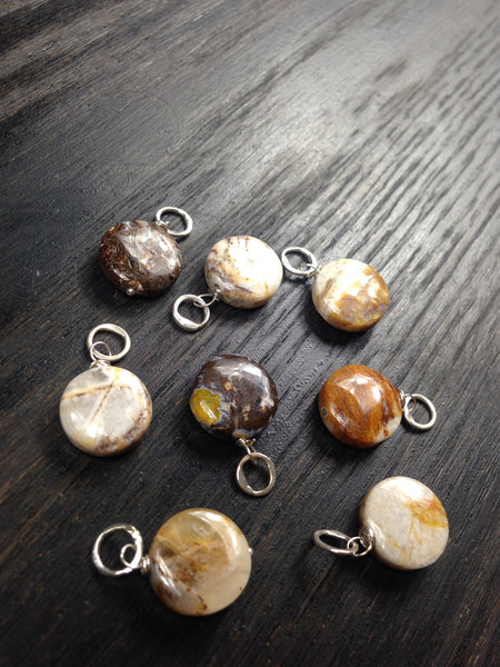 Smooth Jasper Coin Gemstone Bead and Sterling Silver Add A Dangle Charm Round Jump Ring