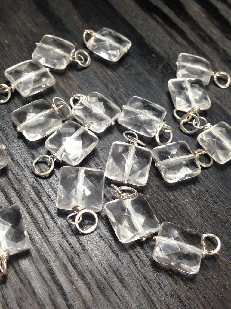 Faceted Clear Quartz Puffed Square Gemstone Bead and Sterling Silver Add A Dangle Charm Round Jump Ring