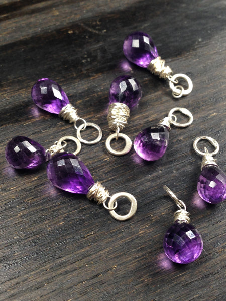 Faceted Briolette Amethyst Gemstone Bead and Sterling Silver Add A Dangle Charm Round Jump Ring
