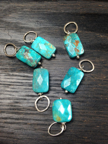 Faceted Turquoise and Sterling Silver Add A Dangle Charm Oval Jump Ring