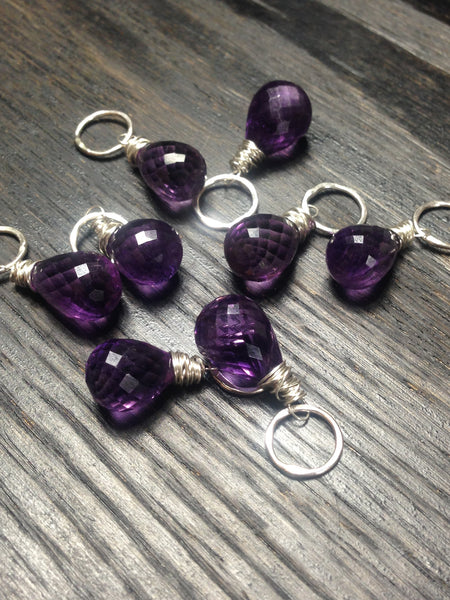 Faceted Briolette Amethyst Gemstone Bead and Sterling Silver Add A Dangle Charm Large Round Jump Ring