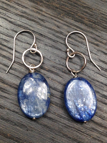Blue Kyanite and Sterling Silver Earrings
