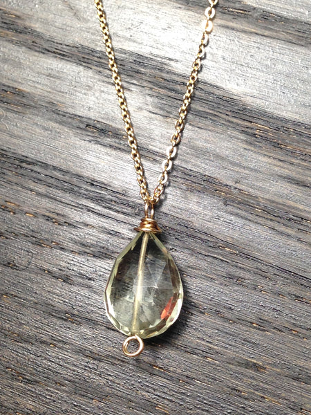 Prasiolite and Gold Chain Necklace