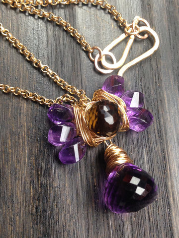 Amethyst With Cognac Quartz and Gold Chain Necklace