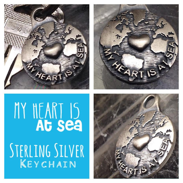 MY HEART IS AT SEA STERLING SILVER KEYCHAIN