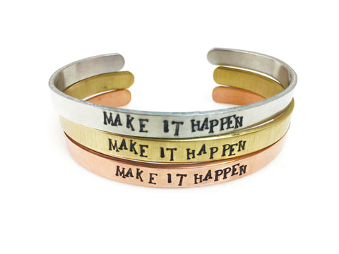 Make It Happen Cuff Bracelet (4 Metal Choices!)