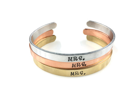 Mrs. Cuff Bracelet (4 Metal Choices!)