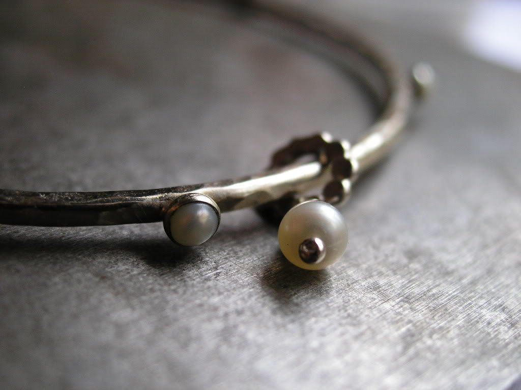 Perfect Pearl and Sterling Silver Bangle