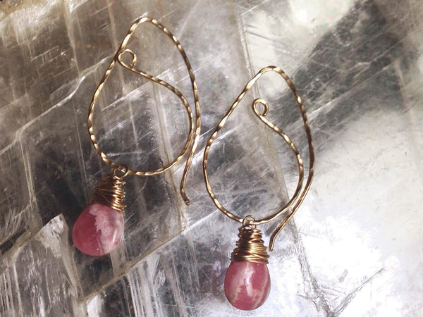 Rhodochrosite and Gold Paisley Wire Wrapped Earrings