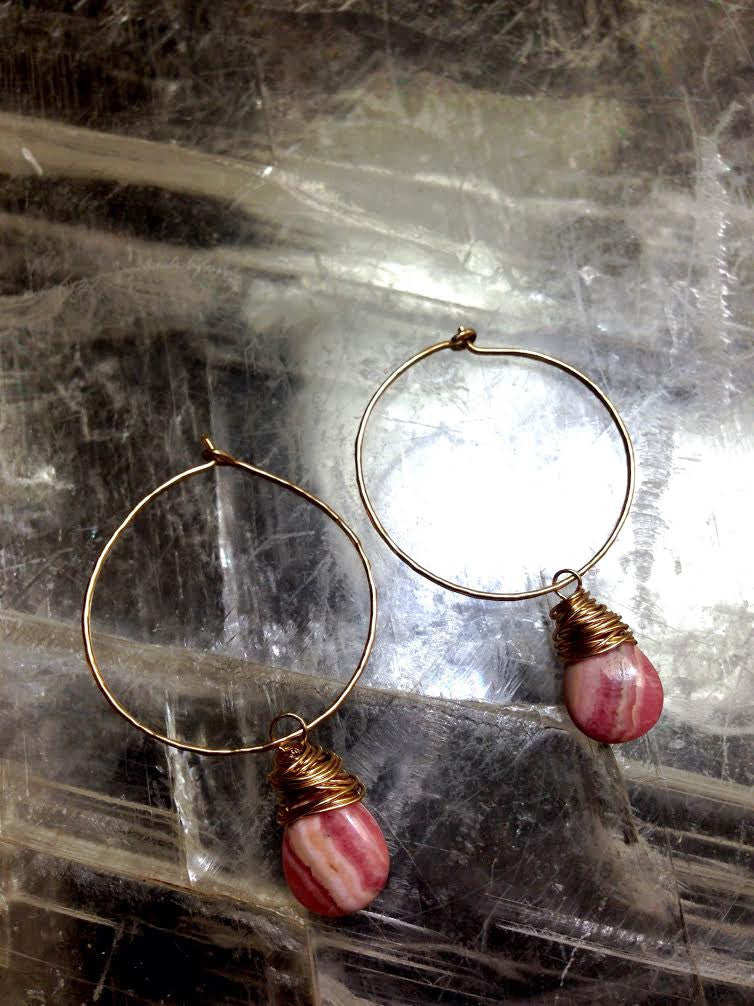 Rhodochrosite and Gold Hoop Wire Wrapped Earrings