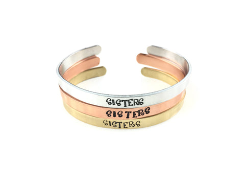 Sisters Cuff Bracelet (4 Metal Choices!)