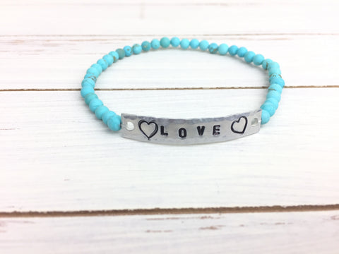 Turquoise LOVE Stretchy Bracelet