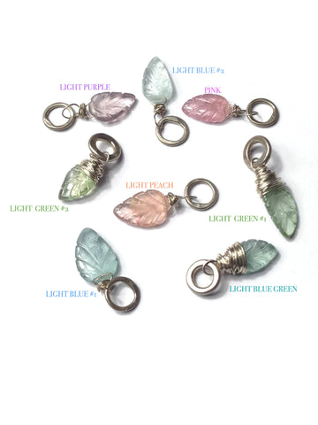 Carved Light Blue-Green Tourmaline Flower Gemstone and Sterling Silver Add A Dangle Charm Round Jump Ring