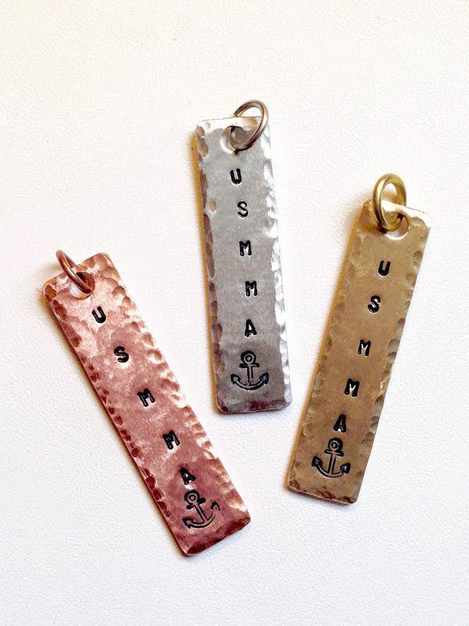 HAND STAMPED USMMA PENDANT OR ZIPPER PULL IN COPPER NICKEL OR BRASS