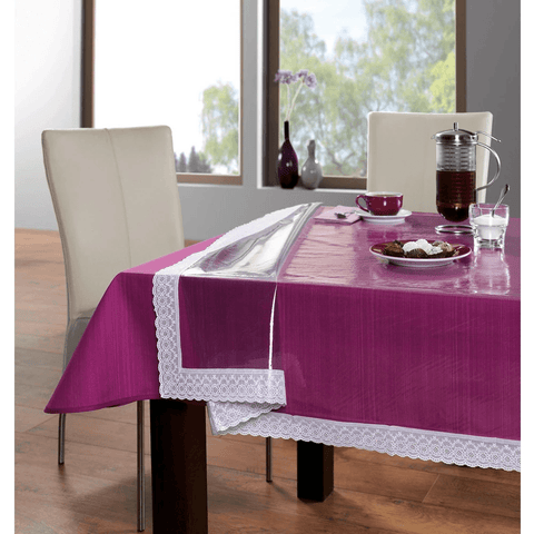 FREELANCE 60*120 RECTANGLE TABLE COVER CLEAR WITH LACE