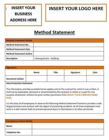 Clearing Drains Rodding Method Statement