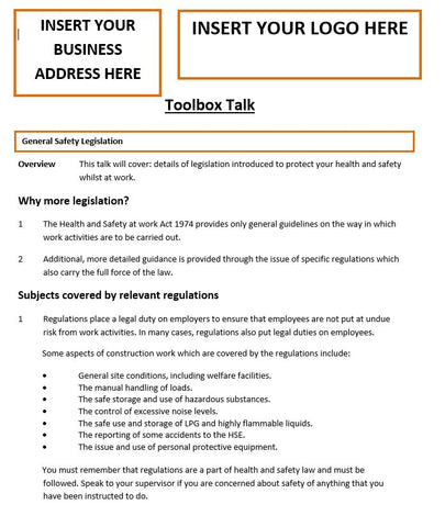 General Safety Legislation Template