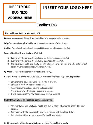 The Health and Safety at Work Act 1974 Template