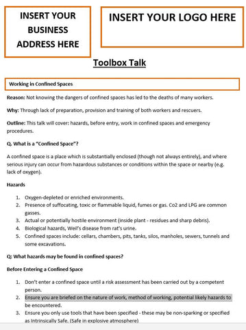 Working in Confined Spaces Template