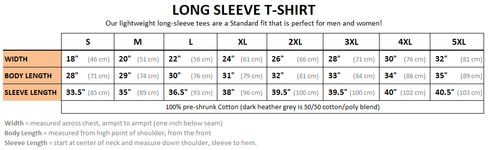 Long Sleeve T-Shirt Sizing Chart - Heavily Equipped, heavy equipment operators