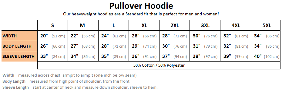 Pullover Hoodie Size Chart - Heavily Equipped, heavy equipment operators