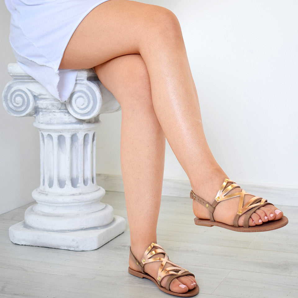 Adonia Black Taupe Rose Gold One, greek sandals, Handmade sandals, Leather sandals, colorful sandals
