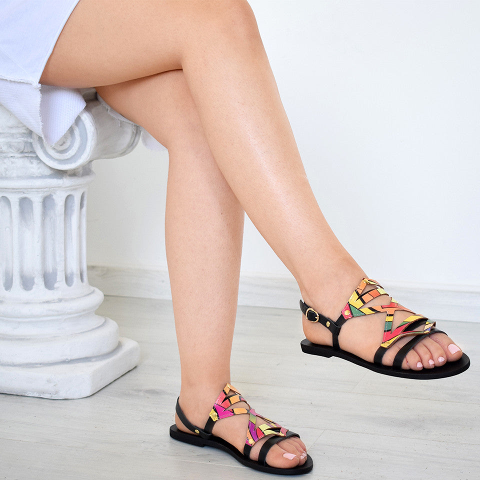 Adonia Women Sandals, greek sandals, Handmade sandals, Leather sandals, colorful sandals, Black sandals,