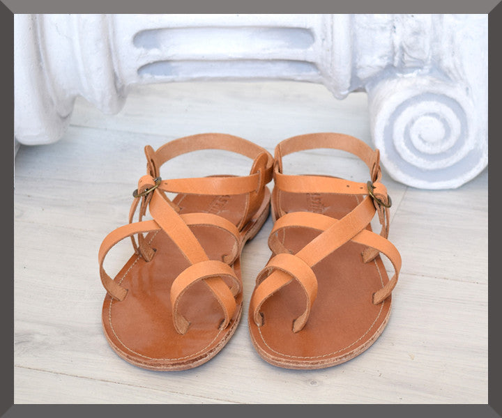 men's natural leather strap sandals