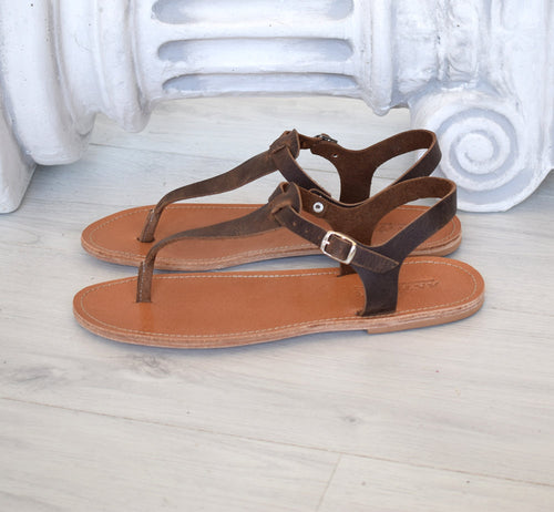 Roman sandals, brown T bar men sandals, Spartan sandals, Thongs sandals,  gladiator sandals, Ancient Greek leather sandals, SKOPELOS1