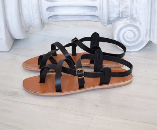 Greek sandals named Tilos in black color, Hippie handmade gladiator Spartan sandals, Astir sandals, roman sandals, ancient sandals TILOS