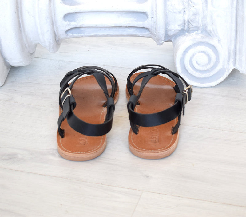 Ancient Greek sandals, Spartan leather sole sandals, handmade sandals, astir sandals, Roman sandals, Genuine Leather, Black sandals. LEROS