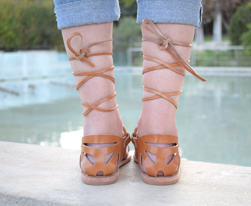 Ancient Greek leather sandals, Tie up Greek sandals, Natural tan sandals, Toe ring sandals, handmade sandals, Flat sandals, SOPHIA sandals