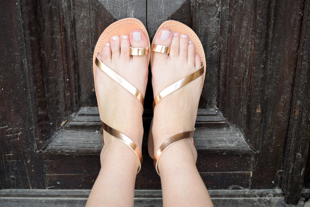 sandals, Ancient Greek leather sandals, Strappy sandals, Rose gold sandals, Ankle strap sandals, Toe ring sandals, Wedding sandals, HERA